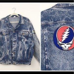 Other - Blue Oversize Acid Wash Grateful Dead Denim Jacket